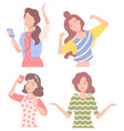 woman gesturing and posing female characters set vector image vector image