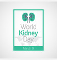 world kidney day icon vector image