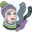 young girl in winter clothes and graceful vector image vector image