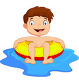 young kid having fun in swimming pool vector image vector image