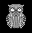 zentangle stylized black owl hand drawn vector image