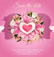 Wedding card invitation bride and groom silhouette vector image