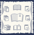 thin line book collection on vintage background vector image