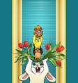 vertical cartoon greeting card easter vector image