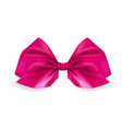 realistic pink bow ribbon on white background vector image