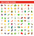 100 farm icons set isometric 3d style vector image vector image