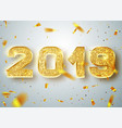 2019 happy new year gold numbers design of vector image vector image
