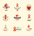 aids day isolated icons disease fighting charity vector image vector image