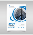 annual report template with blue circles vector image