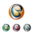 b letter initial 3d shiny ball technology vector image