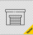 black line garage icon isolated on transparent vector image vector image