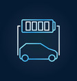 blue electric car with battery concept line vector image