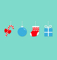candy cane christmas ball sock gift box hanging vector image