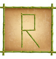 capital letter r made of green bamboo sticks on vector image vector image