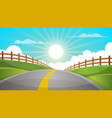 cartoon hill landscape road travel vector image