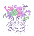 cat with wreath vector image vector image
