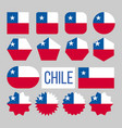 chile flag collection figure icons set vector image vector image