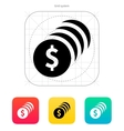 Coins with dollar sign icon vector image