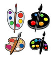 collection wooden art palettes with blobs vector image vector image