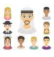 cool avatars different nations people portraits vector image