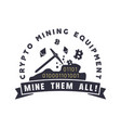 crypto mining equipment emblem crypto currency vector image vector image