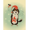 Curious cat and bullfinch celebrate Christmas vector image vector image