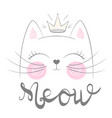 cute cat meow funny princess vector image vector image