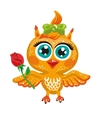 cute owl Cartoon character Bird holding a vector image