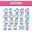 dating app collection elements icons set vector image vector image