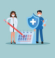 doctors couple lifting pencil and shield with vector image