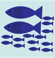 flat shoal of blue fish vector image vector image