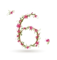 Floral number six for your design vector image vector image