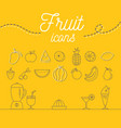 fruit icons set design on yellow background vector image