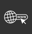 go to web icon internet flat for website on black vector image vector image