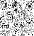 Graphic Seamless Pattern With Animals vector image
