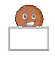 grinning with board chocolate biscuit character vector image vector image