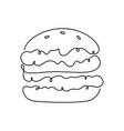 hamburger or burger one continuous line thin