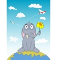 Hand drawn cartoon elephant sitting on Earth vector image