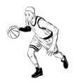 hand drawn sketch of basketball player in black vector image vector image