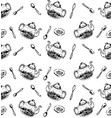 hand drawn sketch of tea pattern seamless vector image
