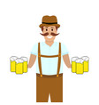 hilarious man with mugs of beer at hands vector image