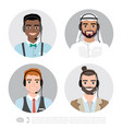icons set multiracial male call center vector image