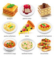 Italian food icons set vector image vector image