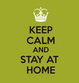 keep calm stay at home vector image vector image
