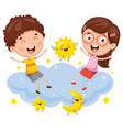 kids sitting on cloud vector image
