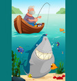 man fishing in the lake vector image