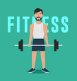 man workout with barbell vector image