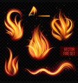Painted transparent fire on a black background vector image