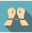 Pair of hands in handcuffs icon flat style vector image vector image