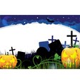 Pumpkin monsters on a cemetery vector image vector image
